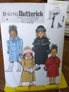 Oop-Butterick-easy-4650-girls-lined-coat-detach-capelet-hat-sz-2-5-UNCUT