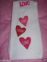 One Happy Valentine's Day Holiday Bathroom Hand Towel Cute Heart Live Laugh Love