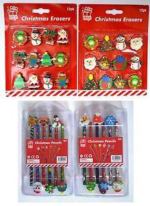 Christmas Novelty Rubber Pencil Eraser Stationery Kids Toy Gift Stocking Filler