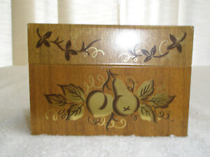 Vintage-J-Chein-amp-Co-Recipe-Box-Brown-Gold-Fruit-Made-in-USA