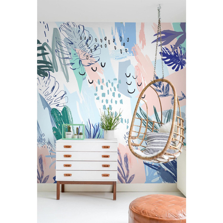 Pastel art nursery Non-Woven wallpaper Roll Tropical Abstract design Home Mural
