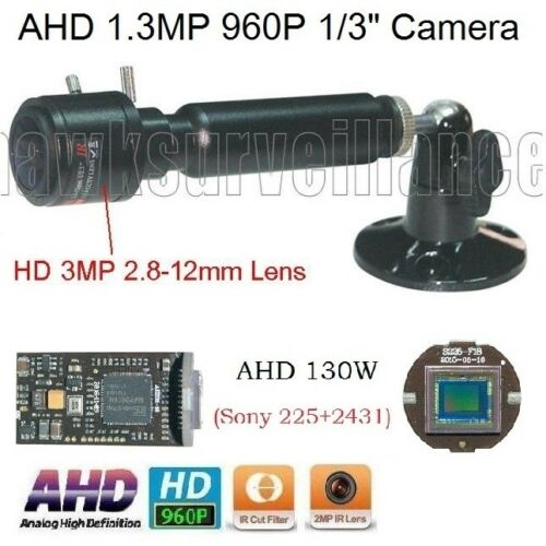 "71 AHD 1.3MP HD 960P Sony IMX225 1//3/"" 3MP2.8-12mm Manual Focus Zoom Lens Camera"