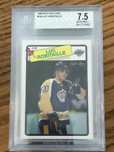 1988-89-O-Pee-Chee-124-Luc-Robitaille-BGS-7-5-NM