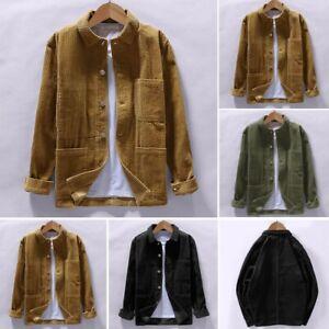 Mens-Autumn-Shirts-Casual-Long-Sleeve-Tops-Corduroy-Blouse-Coat-Outwear-Top