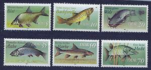 ALEMANIA-RDA-EAST-GERMANY-1987-MNH-SC-2607-2612-Freshwater-fish