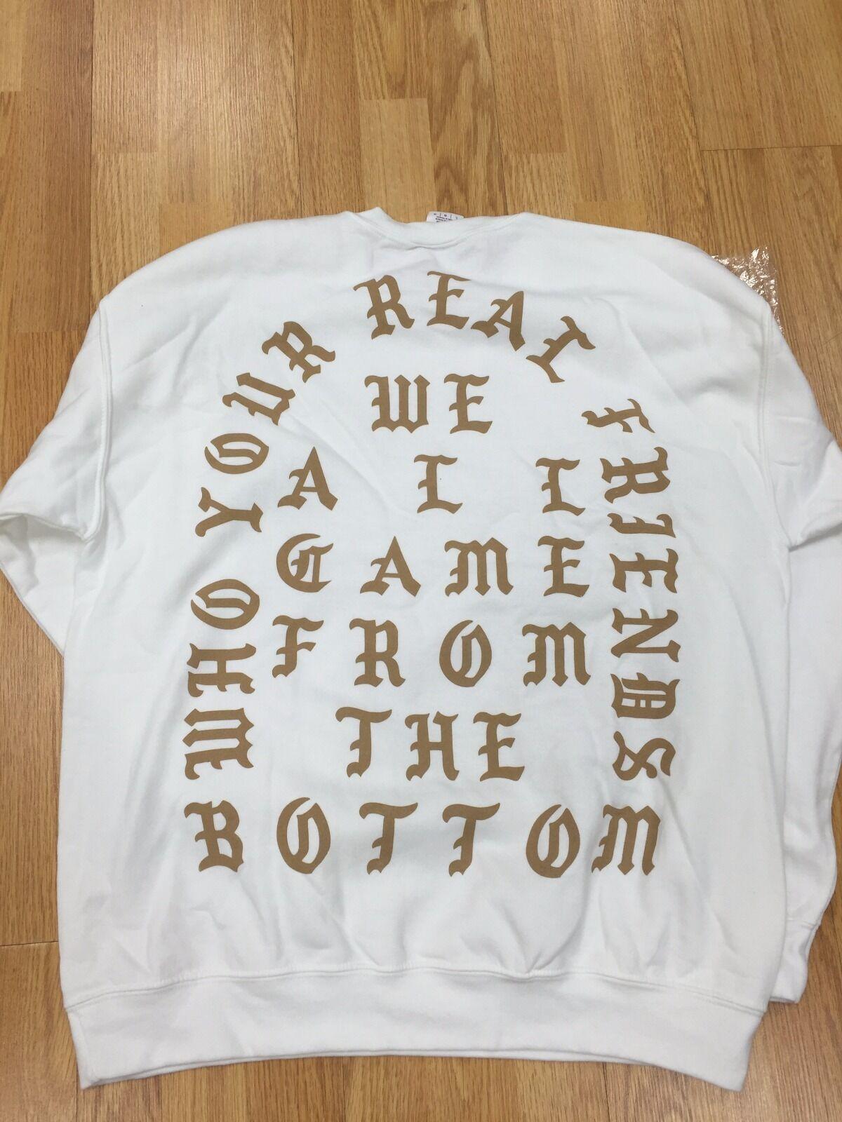 Kanye West POPUP London autentici che i veri GIROCOLLO amici BIANCO GIROCOLLO veri L SOLDOUT 7f4354