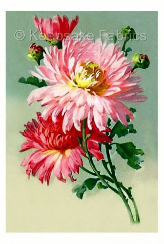 Pink Chrysanthemums Fabric Quilt Block Multi Sizes FrEE ShiPPinG WoRld WiDE C3
