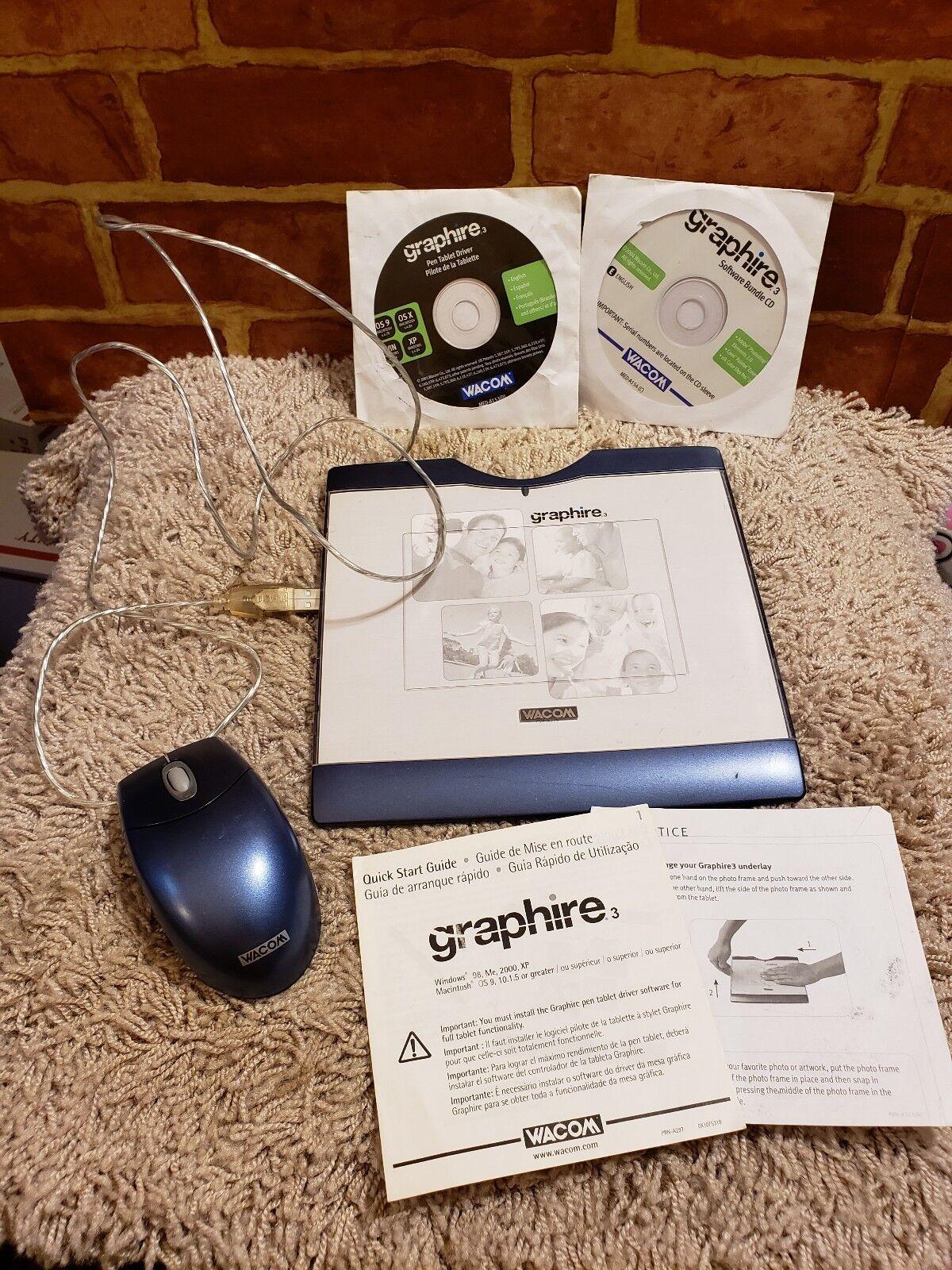 Wacom Graphire 3 Silver Tablet Digitizer W/mouse Pen 4x5 Adobe Corel USB  Cte-430