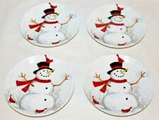 222 Fifth Winter Cheer Snowman Porcelain Holiday Appetizer Plates Set of 4 New