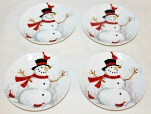 222-Fifth-Winter-Cheer-Snowman-Porcelain-Holiday-Appetizer-Plates-Set-of-4-New