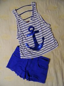 6 W/halter Top White/blue Striped Size~m Women's Size Contemplative Refuge Blue Denim Shorts