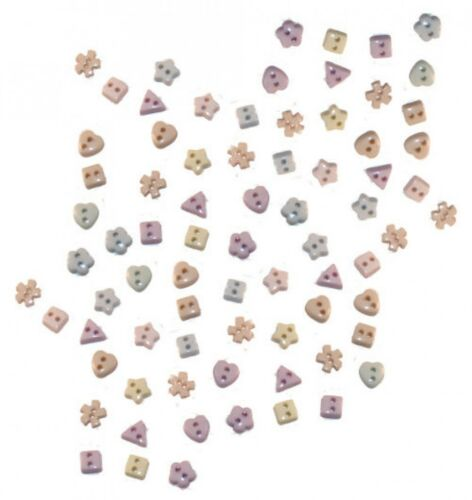 Dress It Up Shaped Novelty Buttons Soft Pastel Miniatures per pack of 50 D...