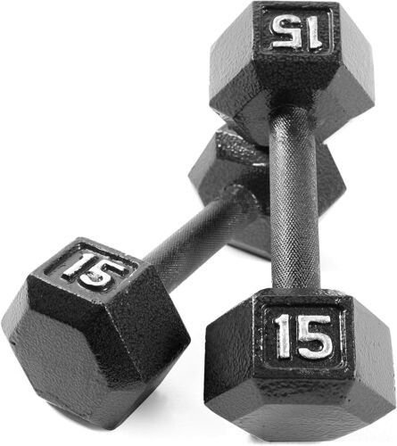 15lb Cap Barbell Solid Hex Dumbbell  15 LBS PAIR Canada Seller FAST SHIPPING