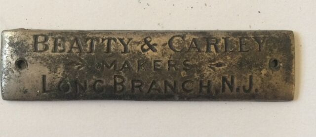 Beatty & Carley Furniture Makers Brass Metal Name Plate Tag VTG Long Branch  NJ - Antique Furniture Metal Tags Collection On EBay!