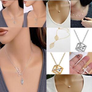 Image is loading Womens-Ladies-Charm-Luxury-Jewelry-Pendant-Chain-Pearl- b2660601e