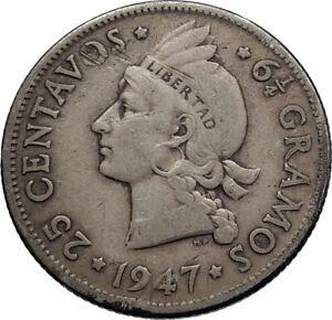 1947-DOMINICAN-REPUBLIC-Silver-Liberty-LIBERTO-Arms-Antique-Silver-Coin-i74316