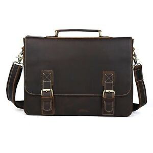 Mens-Real-Leather-Tote-shoulder-Messenger-Bag-Briefcase-16-039-039-Macbook-Laptop-Case
