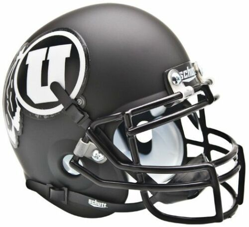MATTE BLACK//WHITE UTAH UTES NCAA Schutt Authentic MINI Football Helmet