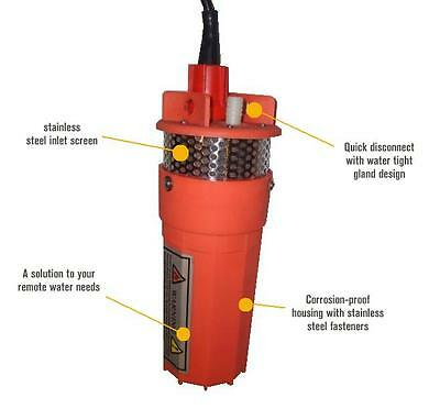Farm & Ranch 12v/24v Solar DC Submersible Water Well Pump - 200ft Lift / 800lph