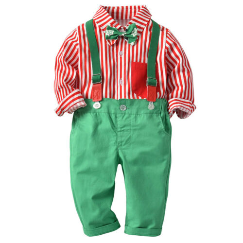 Kid Baby Boys Gentleman Christmas Shirt+Suspenders Strap Pants Set Formal Outfit