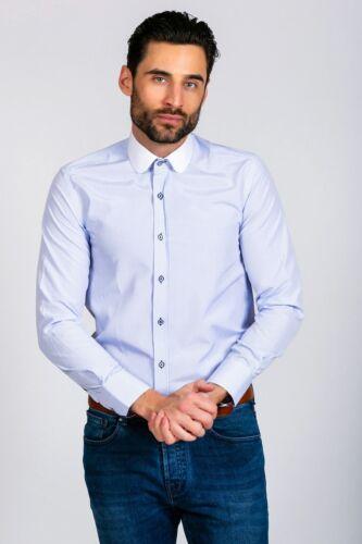 Hommes Marc Darcy à Rayures Contraste Club Col Chemise patraque œillères à manches longues