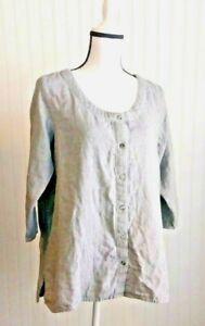 Purejill-Womens-Lagenlook-Tunic-Top-Sz-M-Petite-Gray-Chambray-3-4-Sleeve-Blouse
