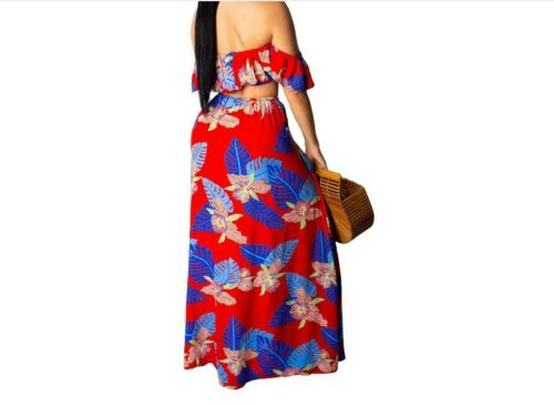 Women Leaf Print Summer Beach 2PC Set Strapless Crop Top With High Slit Lace UP