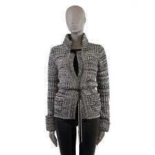 39140 auth CHANEL grey black & white cashmere & silk Knit Jacket 42 L