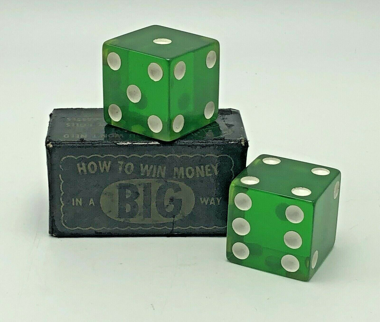 Vintage 1.5 inch Green Big Boy Dice Large Pair Original Box E.S. Lowe USA Lucite