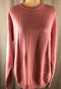 IZOD-Women-s-100-Cotton-Pullover-Sweater-Sz-M-Solid-Coral-Salmon-Peach-Logo