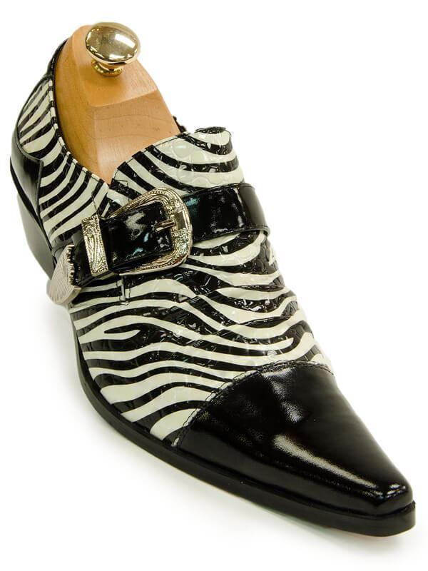 Fiesso Mens nero bianca Leather Zebra Design Monk Buckle slip  su Dress scarpe  qualità di prima classe