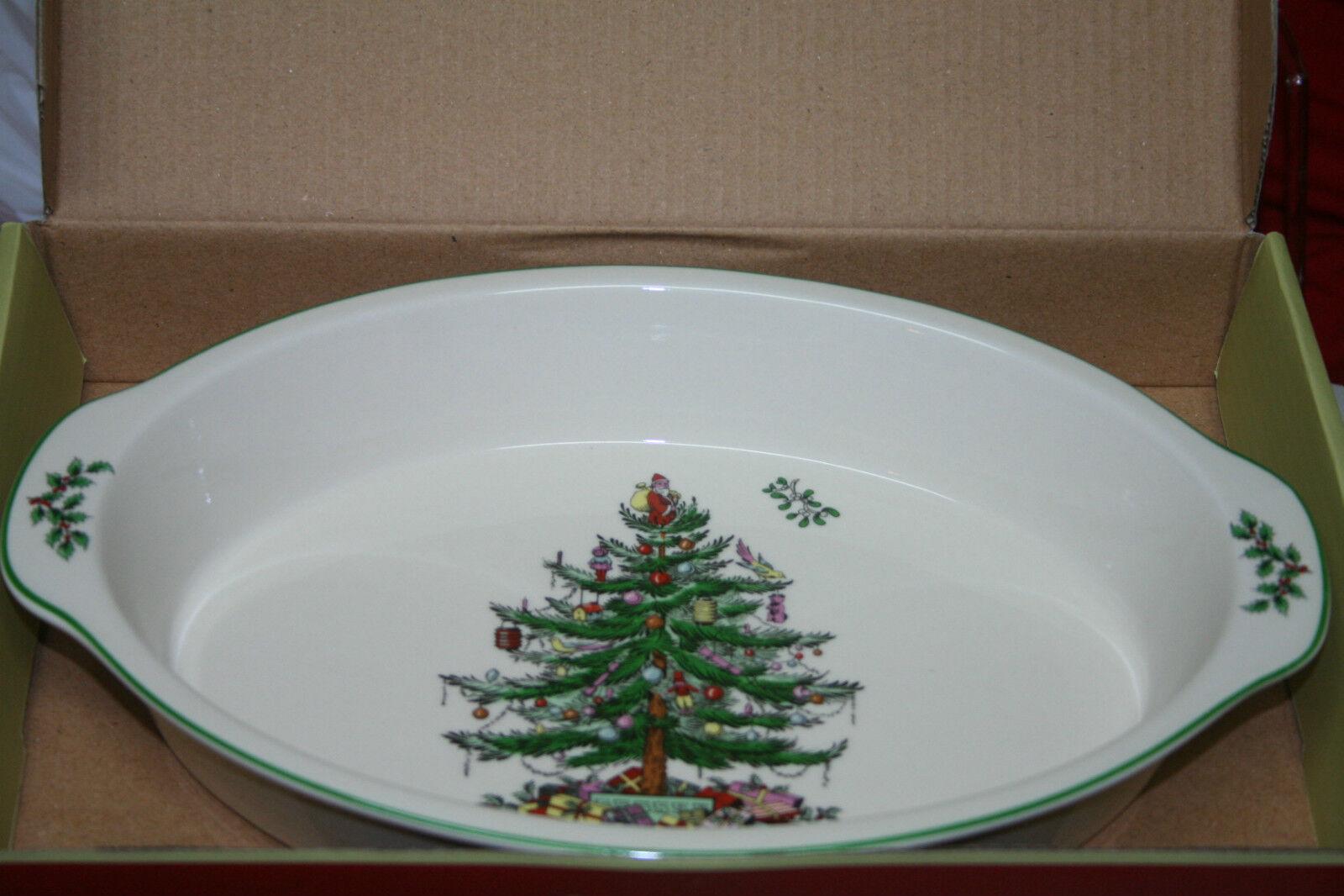 Gratin ovale spode Christmas tree 35 CM