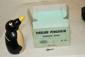 VINTAGE-WOODEN-COIN-BANK-ROBDAL-TIRELIRE-PENGUIN-BANK-MADE-IN-FRANCE-W-KEY