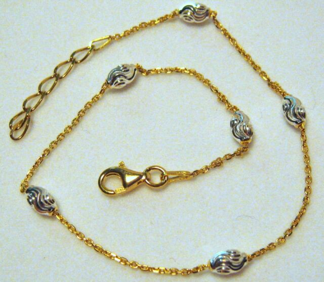"""Italy Sterling Silver .925 & 14k Gold Ankle Bracelet 9""""-10"""" with Silver Bead"""