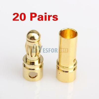 40pcs 3.5mm Gold-plated Bullet Banana Plug Connector Male And Female RC Battery