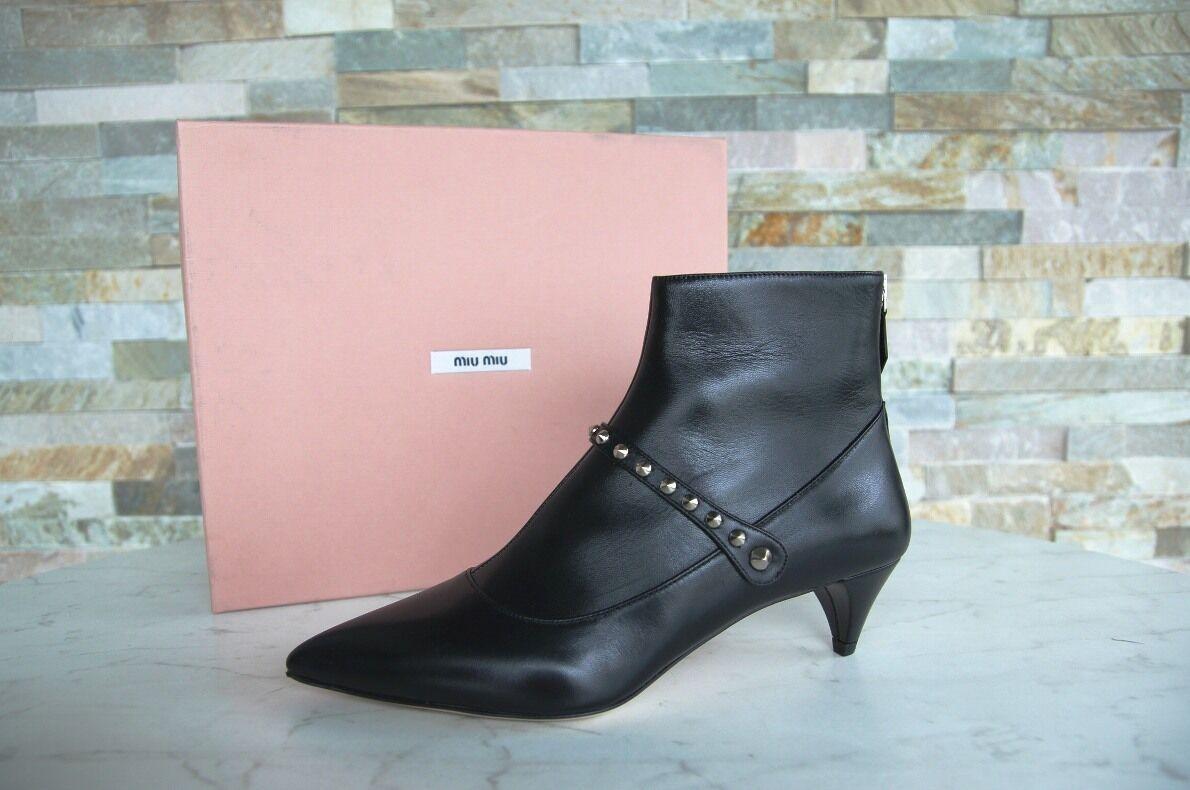 MIU MIU Gr 36 Stiefeletten Stiefelies Ankle Stiefel Schuhe schwarz neu ehem