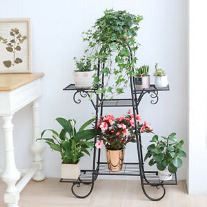 Black-Metal-Plant-Stands-7-Pot-Flower-Display-Shelf-Garden-Patio-Indoor-Outdoor