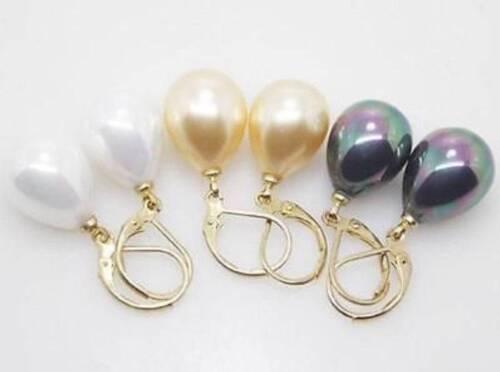 3 Paire 12X16MM blanc jaune noir Shell Perle Larme Eardrop Boucle d/'oreille