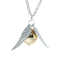 Golden Snitch The Deathly Hallows Wing Charm Gold Ball Pendant Chain Necklace