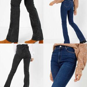 M-amp-S-Marks-Spencer-Womens-Denim-High-Waist-Slim-Flare-Blue-or-Black-Jeans-Trouser