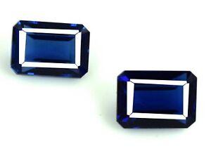 12-80-Ct-11mm-Blue-Tanzanite-Gemstone-Pair-Natural-Emerald-Cut-AGSL-Certified