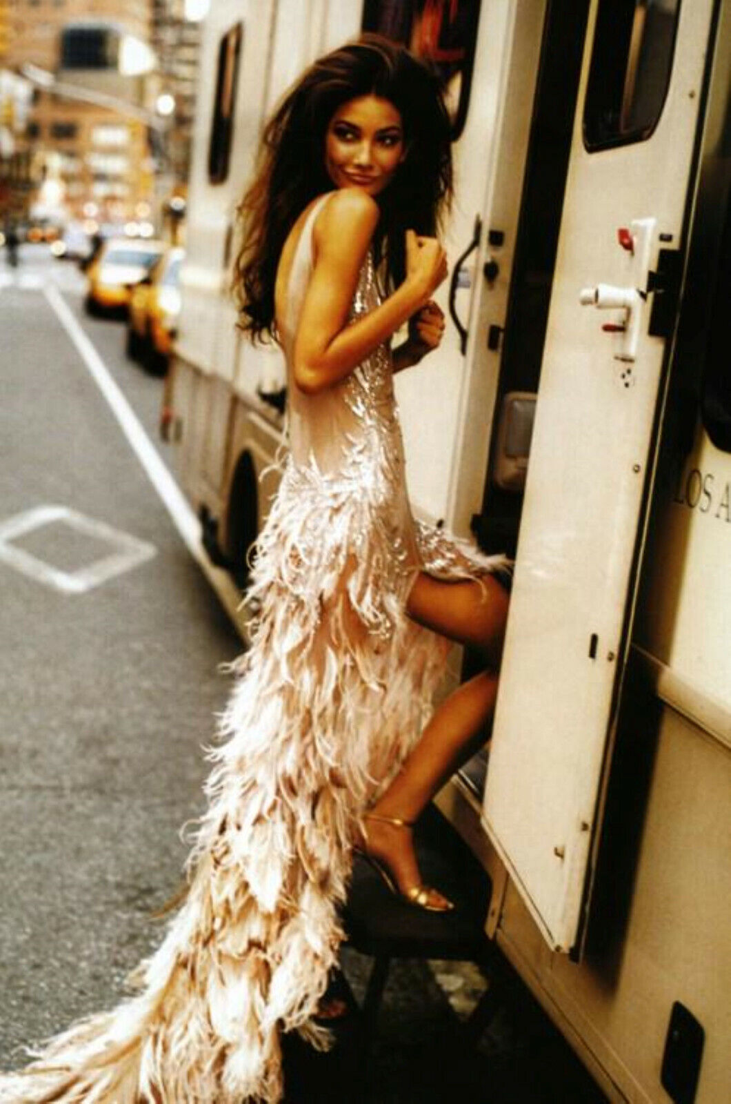 Roberto Cavalli FW2003 Blush Crystal Feather Gown - image 3