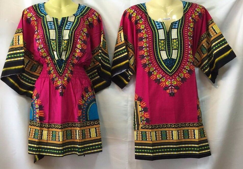 DASHIKI MEN SHIRT AFRICAN TOP DRESS AND MEXICAN HIPPIE BLOSE VTG ONE SIZE SET 07