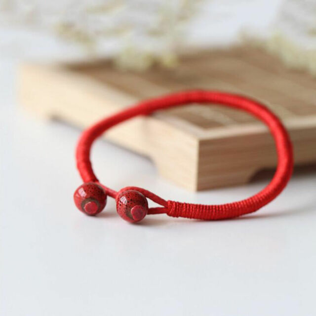 Lucky Red String Bracelets Men Women Hand Braided Ceramic Bead Bracelet Jewelry Ebay