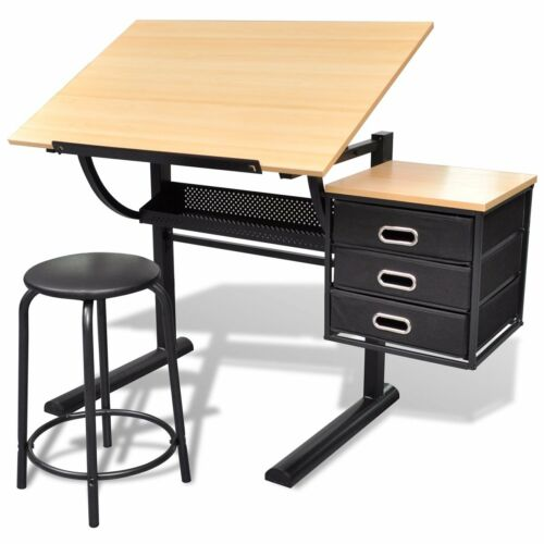 1 of 1 - Tilt Drafting Table Stool Set Drawing Desk 3 Drawer Computer Office Student MDF