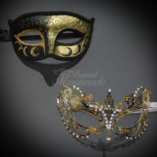 His /& Her Couple Masquerade Mask Black Gold Themed Phantom Mask M6107 M33143