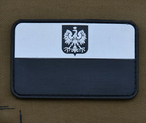 PVC-Rubber-Patch-034-Polish-Black-amp-White-Flag-034-with-VELCRO-brand-hook