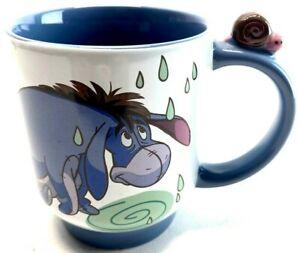 Disney Store Eeyore Rain Coffee Mug Cup W/ Snail On Handle Winnie The Pooh EUC