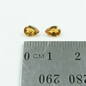 NATURAL-CITRINE-x2-6x4mm-Pear-Shape-Cut-Citrine-Loose-Gemstone-Pair
