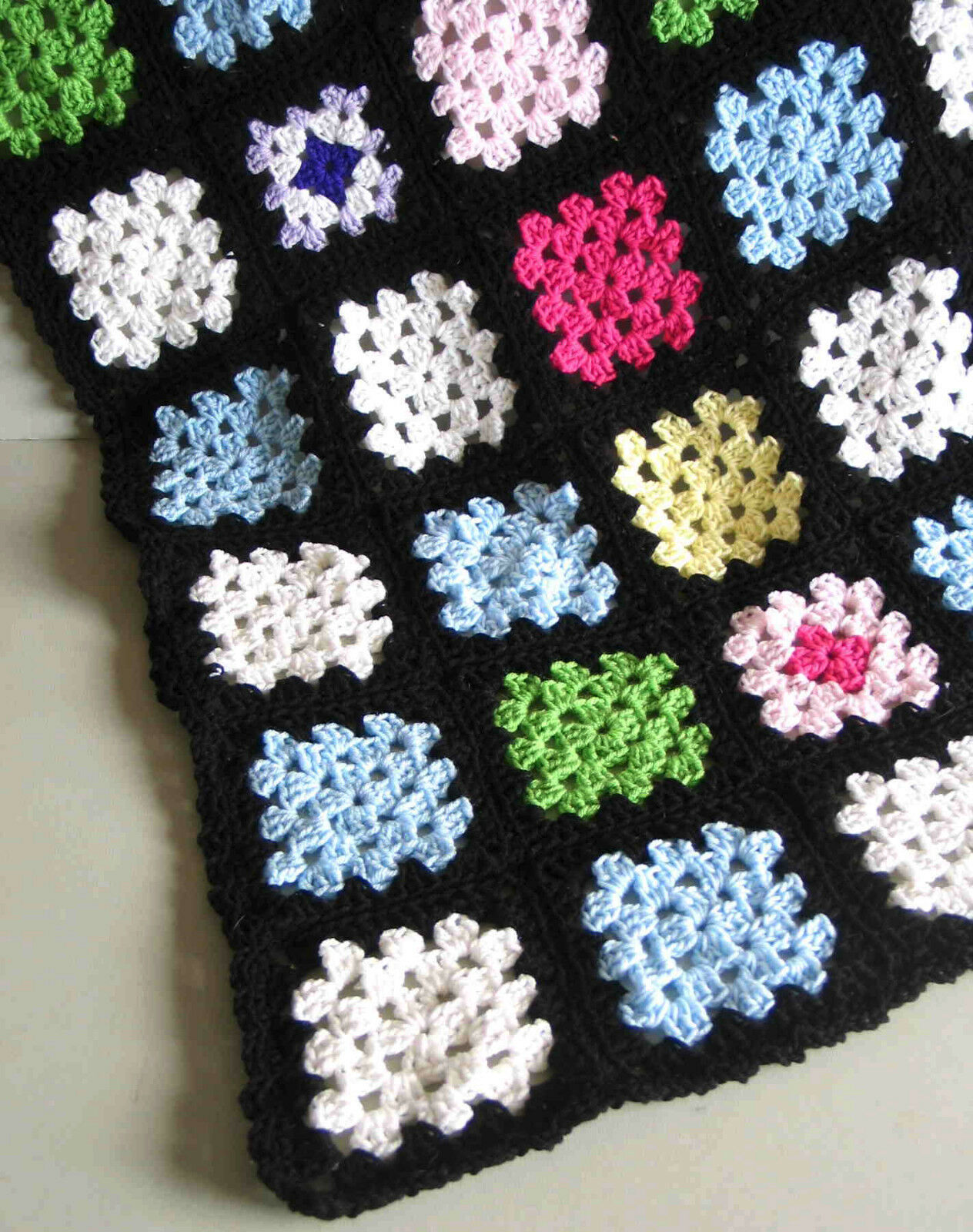 NEW Pastels Multi color AFGHAN Throw 54x72 Acrylic Hand Crocheted Granny FREE SH